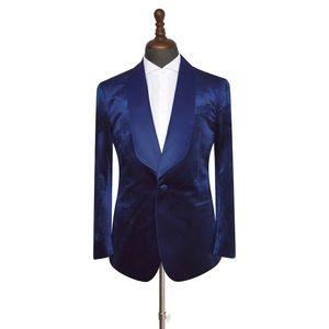Men's Navy Blue Velvet 2 Piece Tuxedo